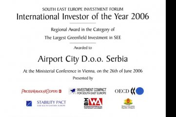 Airport City Belgrade received OECD Award for the Largest Greenfield Investment in SEE